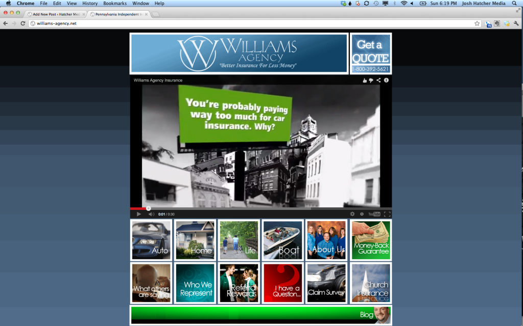 Hatcher Media design for Williams Agency Insurance