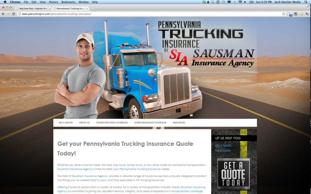 Website Design for Trucking Insurance Company
