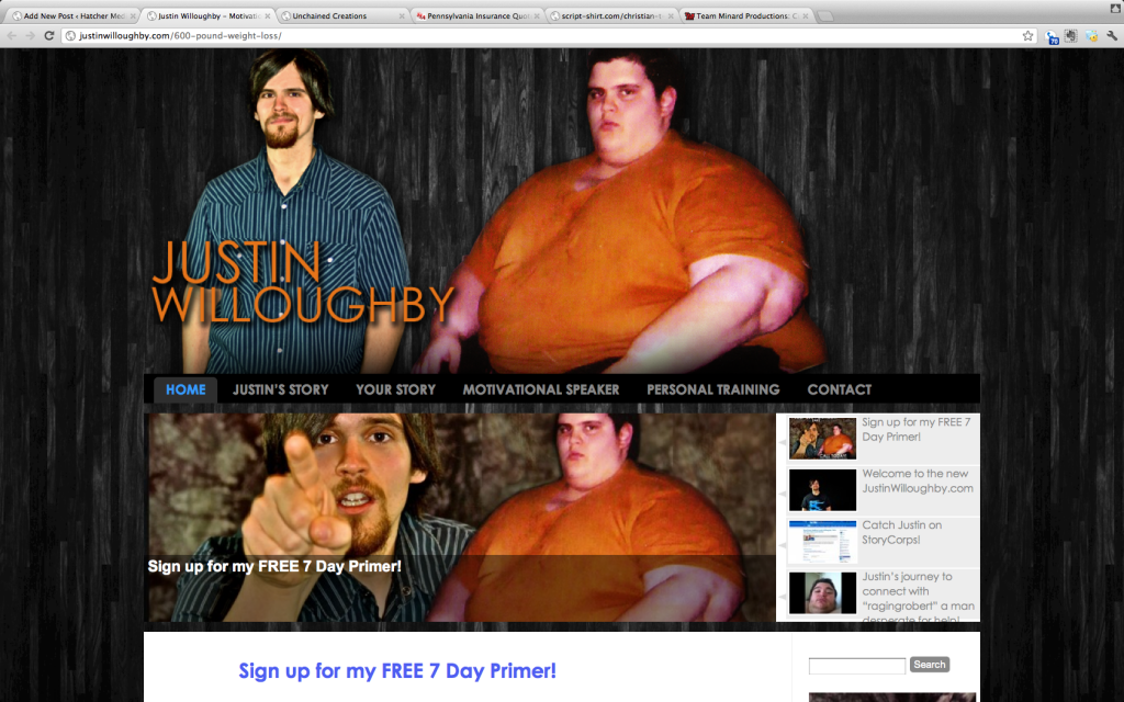 Website for Justin Willoughby - 600 pound weight loss